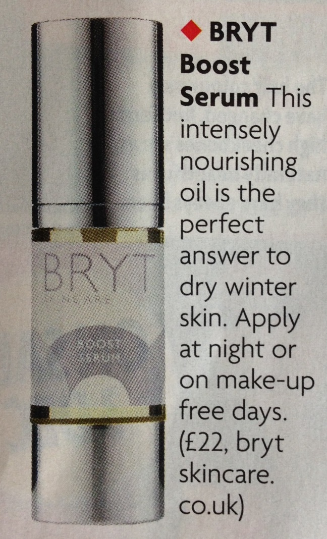 Woman Magazine recommend BRYT Boost as a therapeutic treatment for dry winter skin
