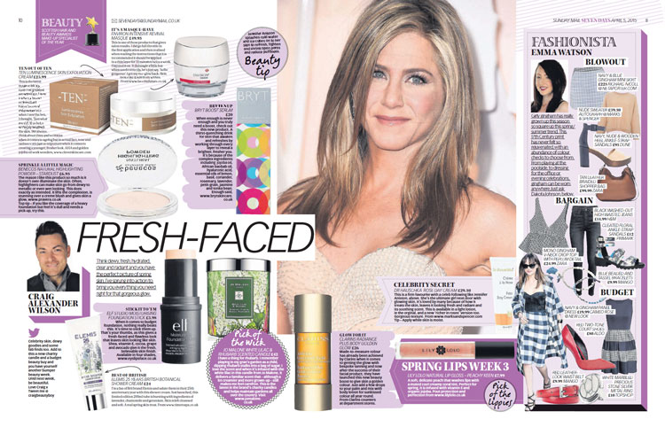 BRYT Skincare featured in the Sunday Mail