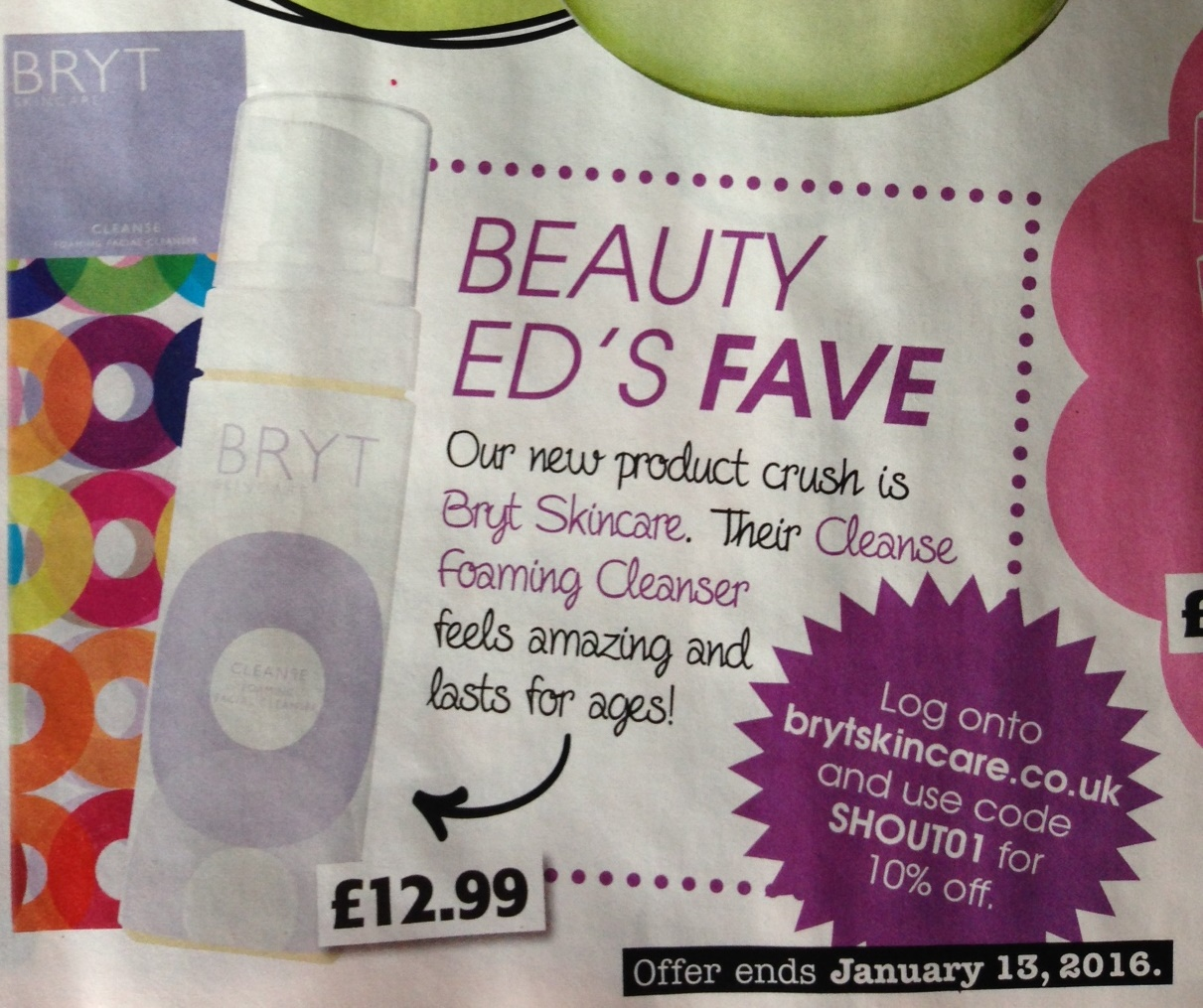 Our Cleanser is in Shout Magazine as Beauty Editor's fave!